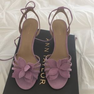 Ann Taylor Lillie Flower heeled sandal in Lilac